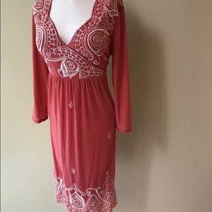 Anthropologie Coral Boho Sexy Dress Medium
